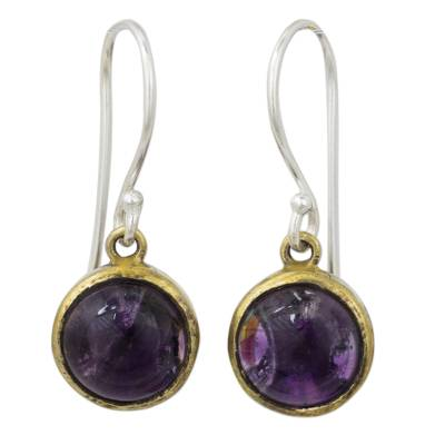 Amethyst dangle earrings, 'Early Sun' - Amethyst Handcrafted Brass and Silver Dangle Earrings