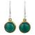 Onyx dangle earrings, 'Early Sun' - Green Onyx Earrings Handcrafted in Brass and Silver thumbail