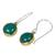 Onyx dangle earrings, 'Early Sun' - Green Onyx Earrings Handcrafted in Brass and Silver (image 2b) thumbail