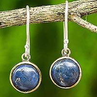 Lapis lazuli dangle earrings, 'Early Sun' - Handcrafted Brass and Silver Earrings with Lapis Lazuli