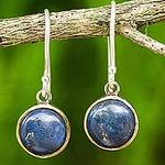 Handcrafted Brass and Silver Earrings with Lapis Lazuli, 'Early Sun'