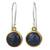 Lapis lazuli dangle earrings, 'Early Sun' - Handcrafted Brass and Silver Earrings with Lapis Lazuli thumbail