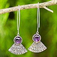 Amethyst dangle earrings, 'Butterfly Crown' - Antiqued 925 Silver Butterfly Wing Earrings with Amethysts