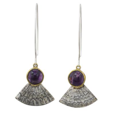 Amethyst dangle earrings, 'Butterfly Crown' - Antiqued 925 Silver Butterfly Wing Earrings with Amethysts