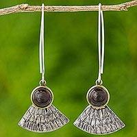 Garnet dangle earrings, 'Butterfly Crown' - Antiqued 925 Silver Butterfly Wing Earrings with Garnet