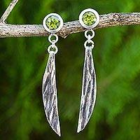 Peridot dangle earrings, 'Gentle Mind' - Handcrafted Peridot and Sterling Silver Dangle Earrings