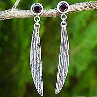 Garnet dangle earrings, 'Gentle Mind' - Garnet and Sterling Silver Handcrafted Dangle Earrings