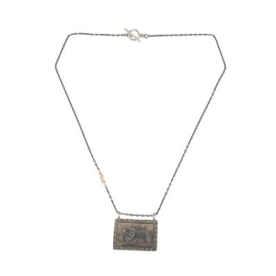 Gold accented silver pendant necklace, 'Thai Elephant Amulet' - Pendant Necklace with Hill Tribe Silver and Gold Accents