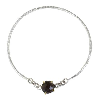 Hand Crafted Smoky Quartz and Sterling Silver Bangle