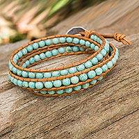 Serpentine and leather wrap bracelet, 'Blue Caramel'