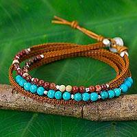 Jasper and leather wrap bracelet, 'Tha Ton Sky' - Jasper and Calcite Leather Wrap Bracelet with Silver Beads