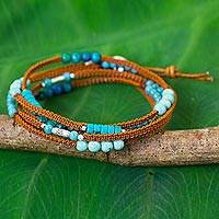 Multi gemstone leather wrap bracelet, 'Galare Lake' - Multi Gemstone Leather Wrap Bracelet with Silver Beads