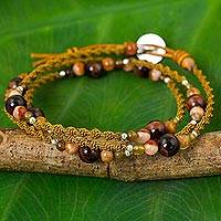 Agate and leather wrap bracelet, 'Chiang Dao Colors' - Agate and Jasper Leather Wrap Bracelet with Silver Beads