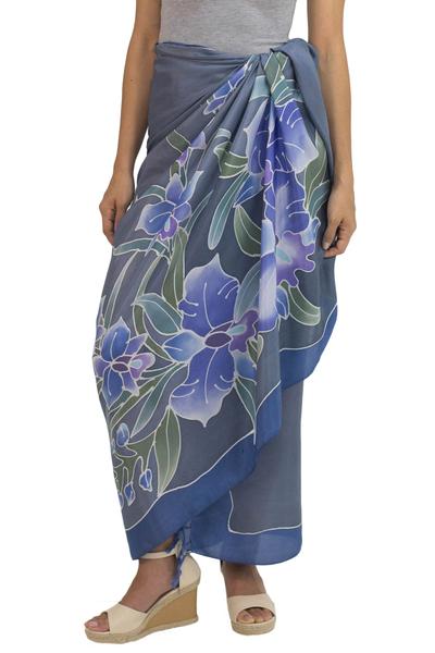 Silk batik sarong, 'Midnight Cattleya' - 100% Thai Silk Sarong Wrap with Hand-printed Batik Orchids