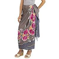 Silk batik sarong, 'Paradisiacal Cattleya' - Hand-printed Batik Orchids on Thai 100% Silk Sarong
