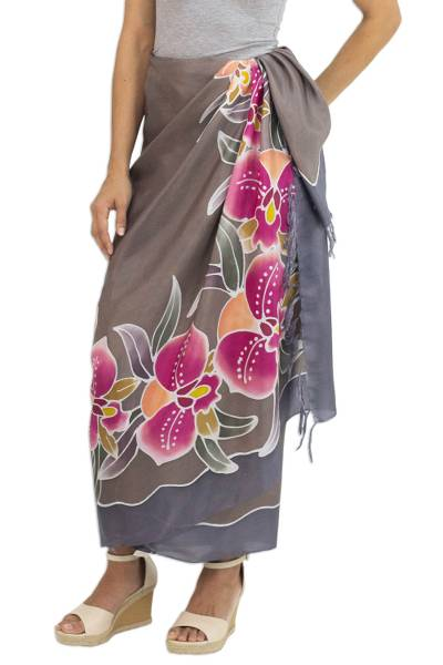 Silk batik sarong, 'Paradisiacal Cattleya' - Hand-printed Batik Orchids on Thai 100% Silk Sarong