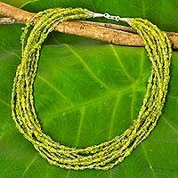 Peridot beaded strand necklace, 'Vibrant Clover' - Hand Crafted Peridot Beaded Strand Necklace from Thailand