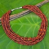 Carnelian beaded strand necklace, 'Orange Cosmos' - Artisan Crafted Carnelian Beaded Necklace from Thailand