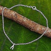 Sterling silver pendant anklet, 'The Wishbone' - Handmade Sterling Silver Anklet with Wishbone Pendant