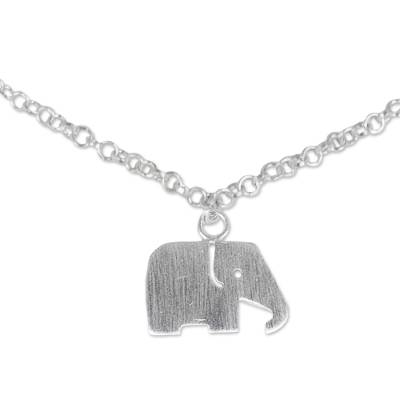 Artisan Crafted Sterling Silver Anklet with Elephant Charm