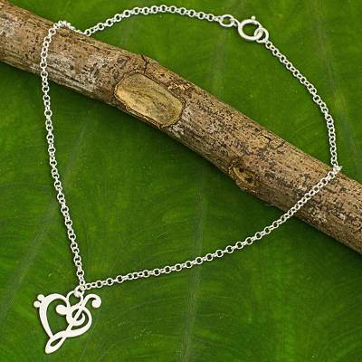 Sterling silver anklet, 'Music of Love' - Artisan Crafted Brushed Silver Music Theme Anklet