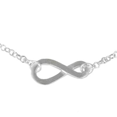 Sterling silver anklet, 'Into Infinity' - Infinity Symbol Thai Artisan Crafted Sterling Silver Anklet