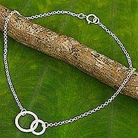 Sterling silver two circle anklet, 'Relationship' - Thai Handcrafted 2 Circle Anklet in Brushed Sterling Silver