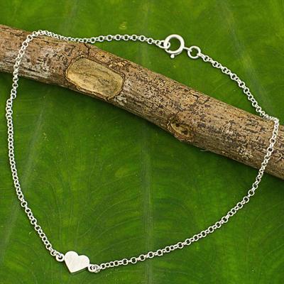 Sterling silver anklet, 'Full Heart' - Artisan Crafted Sterling Silver Heart Anklet from Thailand