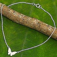 Sterling silver anklet, 'Butterfly Silhouette' - Thai Artisan Crafted Sterling Silver Butterfly Theme Anklet