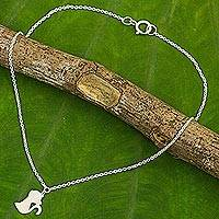 Sterling silver anklet, 'Kitty Cat Charm' - Cat Theme Thai Artisan Crafted Sterling Silver Anklet