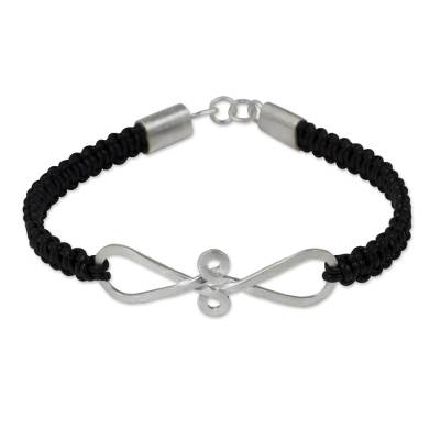 Thai Black Leather Braided Bracelet with Sterling Silver