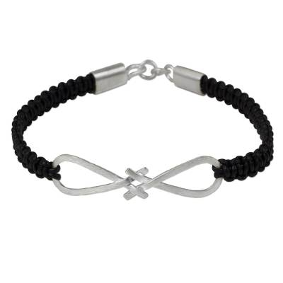 Thai Sterling Silver and Black Leather Braided Bracelet