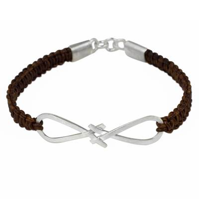 Brown Leather Bracelet with Infinity Symbol Pendant