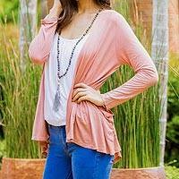 Cotton and linen blend cardigan, 'Thailand Mist in Salmon' - Cotton and Linen Blend Salmon Cardigan from Thailand