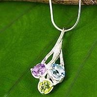 Multi gemstone pendant necklace, 'Cool Jazz Romance' - Thai Handcrafted Multigemstone Sterling Silver Necklace