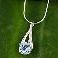 Blue topaz pendant necklace, 'A Singular Melody' - Modern Thai Silver Pendant Necklace with Blue Topaz