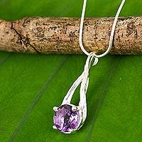 Amethyst pendant necklace, 'A Singular Melody' - Handcrafted Amethyst and Sterling Silver Modern Necklace