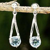 Blue topaz dangle earrings, 'A Singular Melody' - Modern Silver Dangle Earrings with Blue Topaz