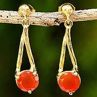 Gold vermeil carnelian dangle earrings, 'A Singular Melody' - Thai Carnelian Dangle Earrings Handcrafted in Gold Vermeil