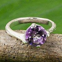 Amethyst solitaire ring, 'A Singular Melody' - Thai Amethyst and Sterling Silver Handcrafted Solitaire Ring