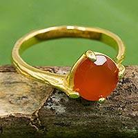 Carnelian single stone ring, 'Natural Melody' - Hand Crafted Carnelian and Gold Plated Ring from Thailand