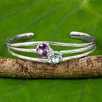 Amethyst and blue topaz cuff bracelet, 'Cool Jazz Romance' - Handcrafted Amethyst and Blue Topaz Sterling Silver Bracelet