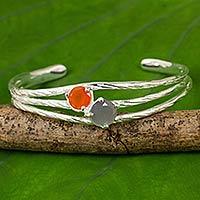Carnelian and moonstone cuff bracelet,