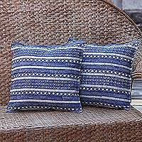 Cotton cushion covers, 'Blue Hmong Charm' (pair) - Set of 2 Blue Striped Hill Tribe Cotton Batik Cushion Covers