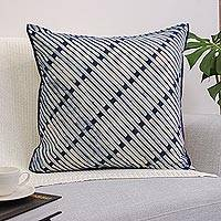 Cotton cushion cover, 'Blue Bamboo Lattice' - 24x24 Inch Blue Cotton Batik Cushion Cover from Thailand