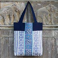 Cotton batik tote bag, 'Sky Blue Stars' - Sky Blue Embroidered Stars on Indigo Cotton Batik Tote Bag