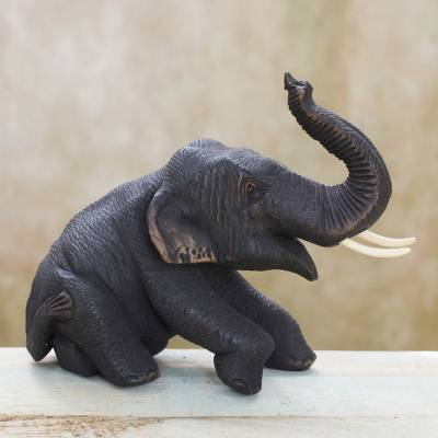 Teak wood sculpture, 'Playful Baby Elephant' - Teak Wood Baby Elephant Sculpture Hand Carved in Thailand