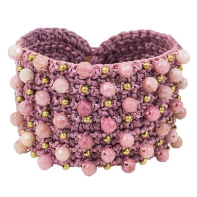 Handmade Pink Rhodonite and Brass Beaded Crochet Wristband Bracelet