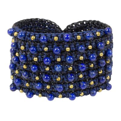 Handcrafted Blue Dyed Lapis Lazuli Beaded Macrame Wristband Bracelet