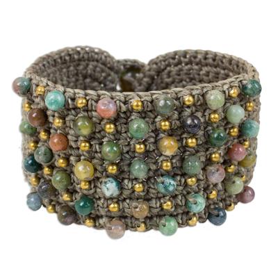 Fair Trade Green Agate Brass Beaded Wide Crochet Wristband Bracelet